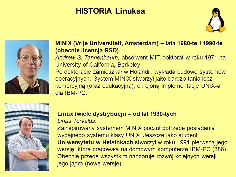HISTORIA Linuksa MINIX (Vrije Universiteit, Amsterdam) – lata 1980-te i 1990-te (obecnie licencja BSD)