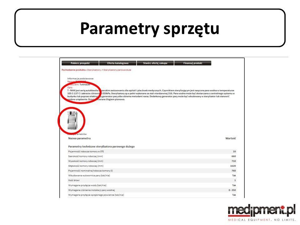 Parametry sprzętu