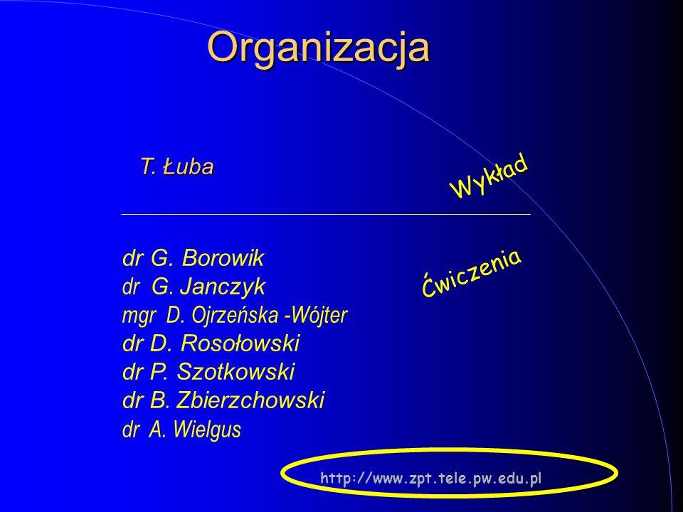 Organizacja Wykład dr G. Borowik dr G. Janczyk Ćwiczenia