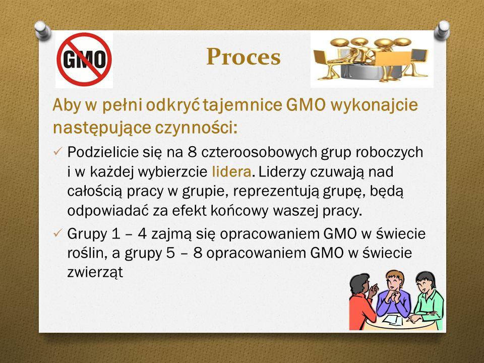 ProcesAby w pełni odkryć tajemnice GMO wykonajcie następujące czynności: