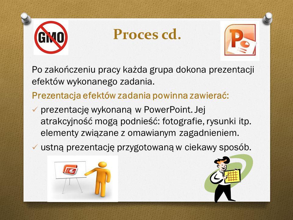 Proces cd.Po zakończeniu pracy każda grupa dokona prezentacji efektów wykonanego zadania. Prezentacja efektów zadania powinna zawierać: