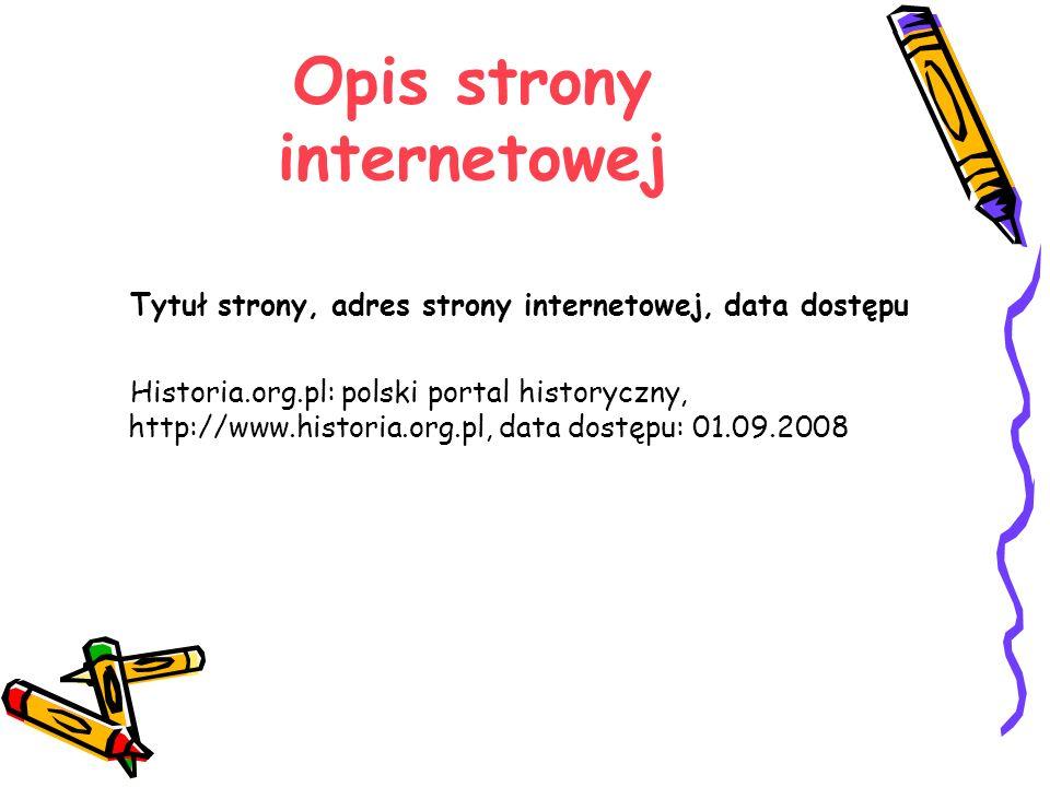 Opis strony internetowej