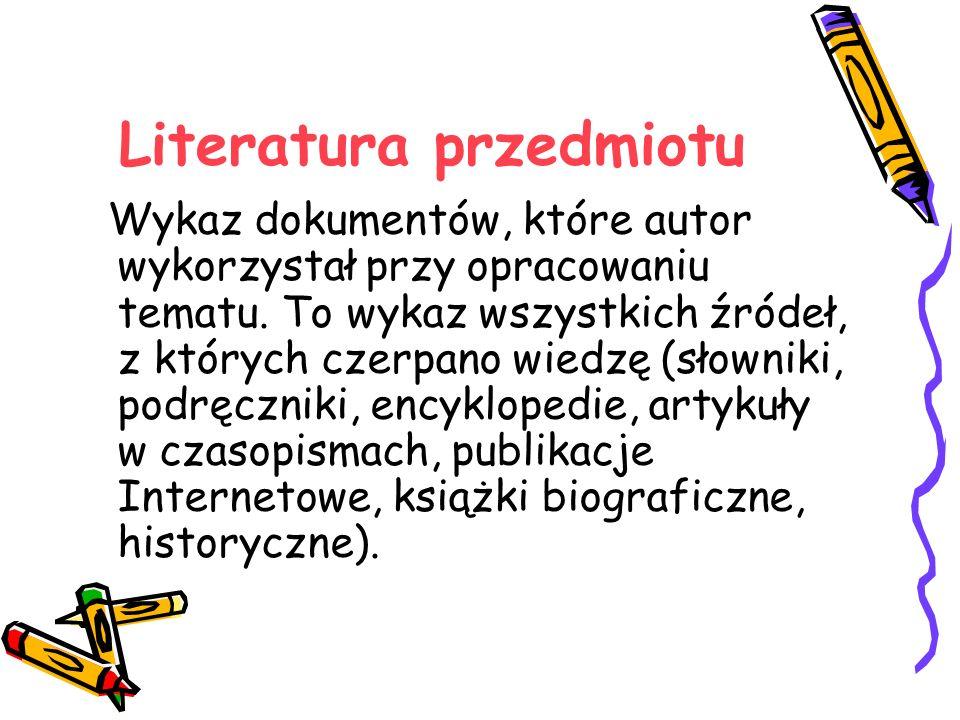 Literatura przedmiotu