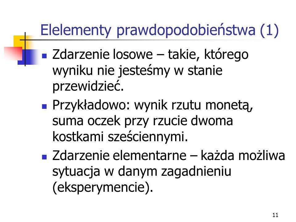 Elelementy prawdopodobieństwa (1)