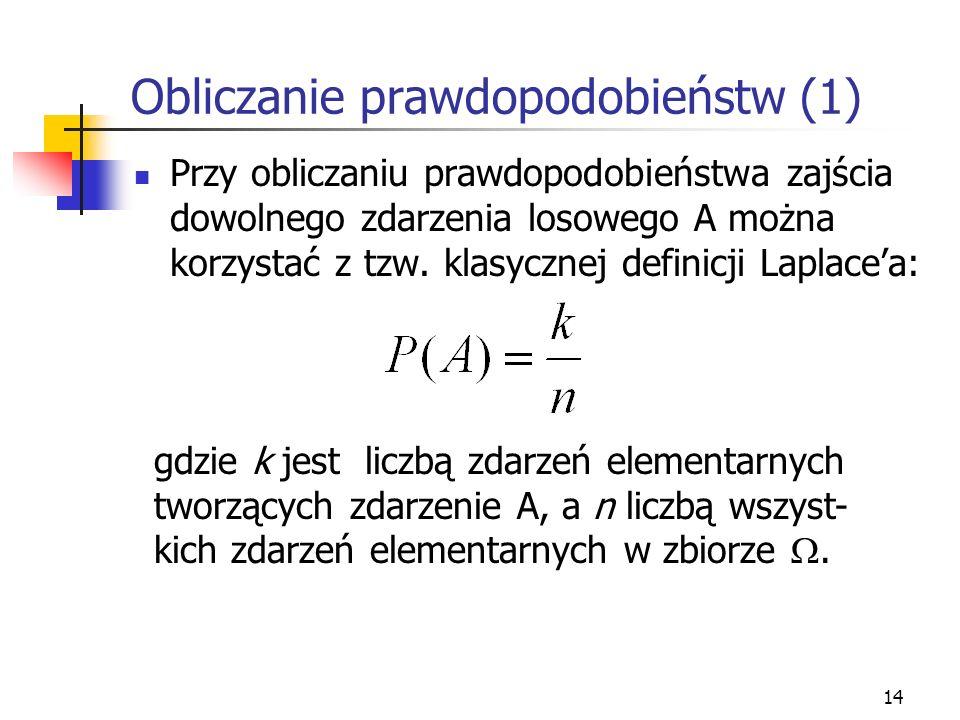 Obliczanie prawdopodobieństw (1)