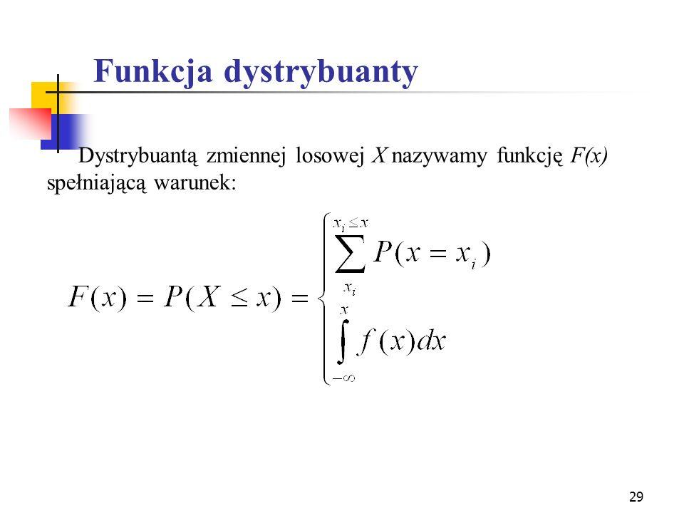 Funkcja dystrybuanty Dystrybuantą zmiennej losowej X nazywamy funkcję F(x) spełniającą warunek:
