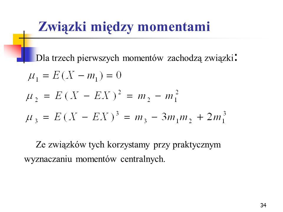 Związki między momentami