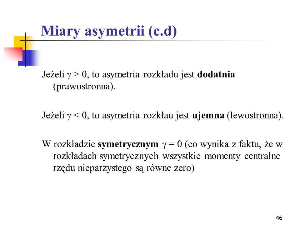 Miary asymetrii (c.d)Jeżeli  > 0, to asymetria rozkładu jest dodatnia (prawostronna). Jeżeli  < 0, to asymetria rozkłau jest ujemna (lewostronna).
