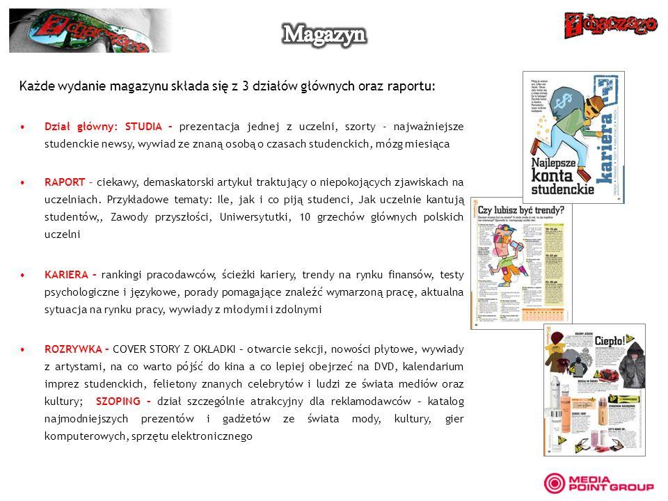 Magazyn Każde wydanie magazynu składa się z 3 działów głównych oraz raportu: