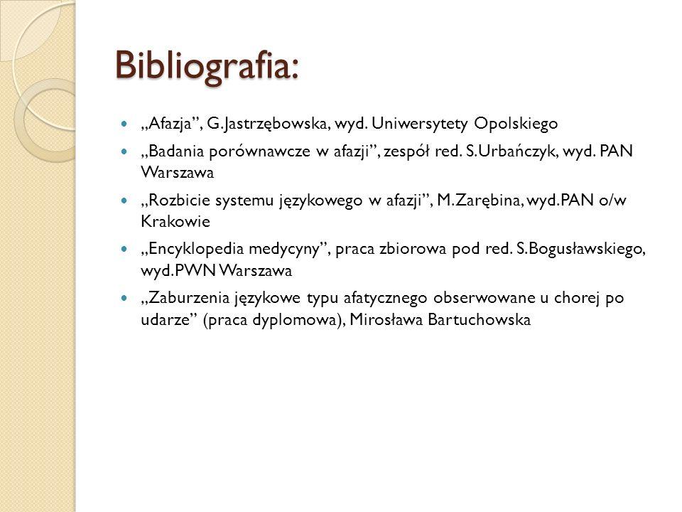 """Bibliografia: """"Afazja , G.Jastrzębowska, wyd. Uniwersytety Opolskiego"""