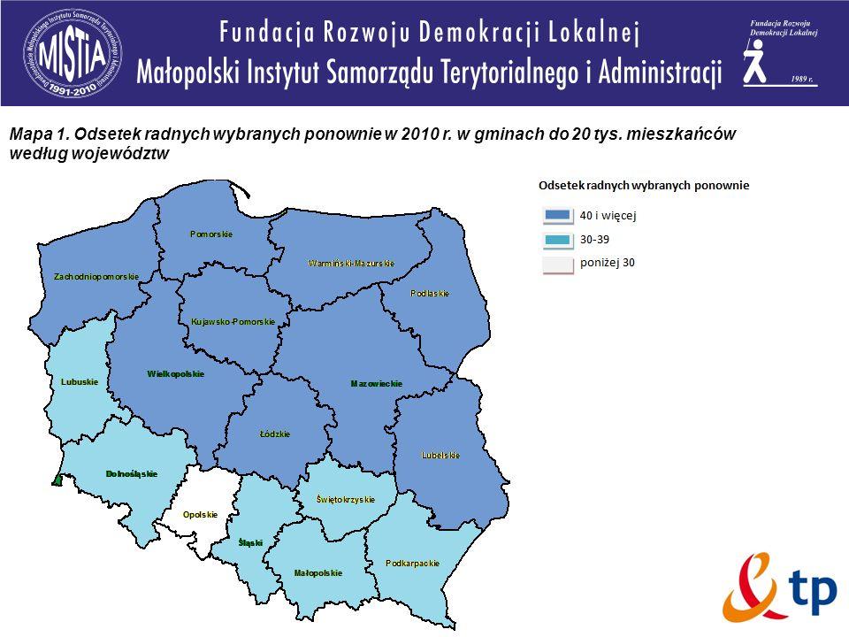 Mapa 1. Odsetek radnych wybranych ponownie w 2010 r