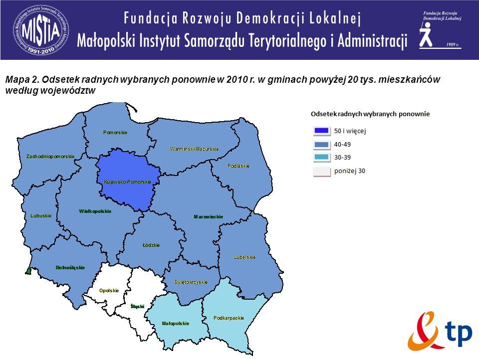Mapa 2. Odsetek radnych wybranych ponownie w 2010 r