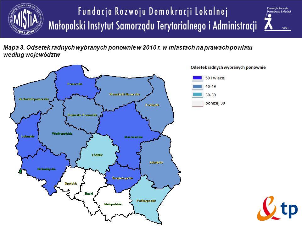 Mapa 3. Odsetek radnych wybranych ponownie w 2010 r