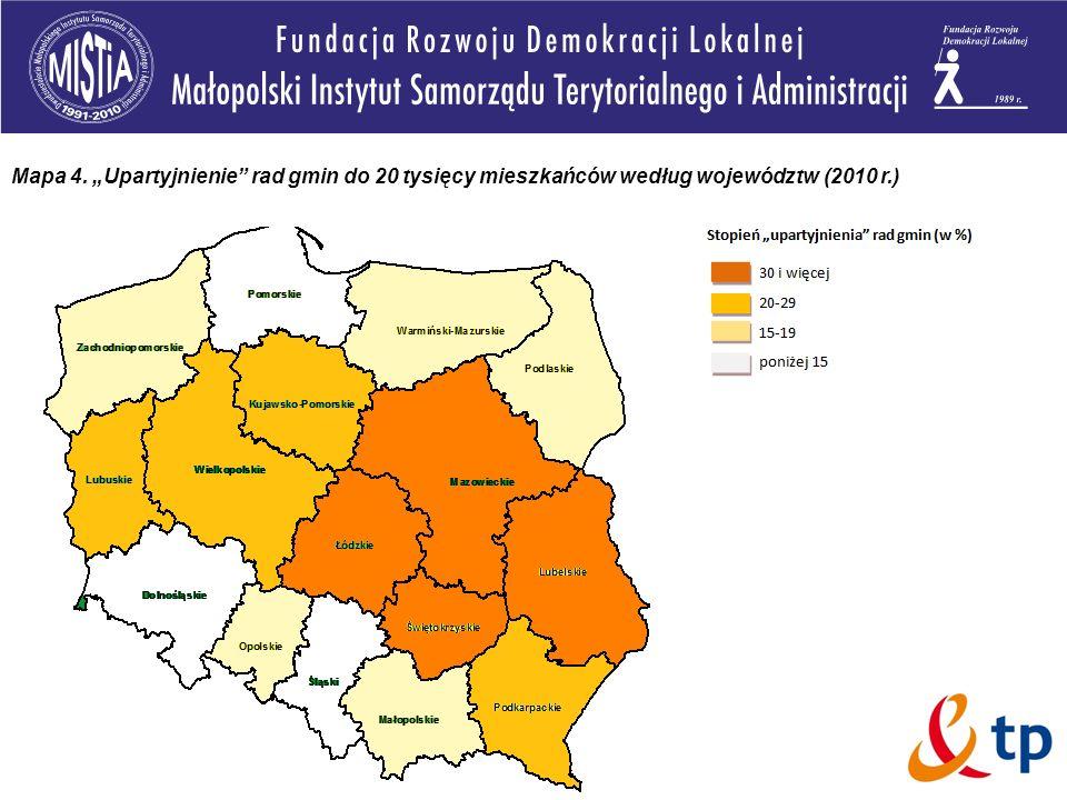 """Mapa 4. """"Upartyjnienie rad gmin do 20 tysięcy mieszkańców według województw (2010 r.)"""