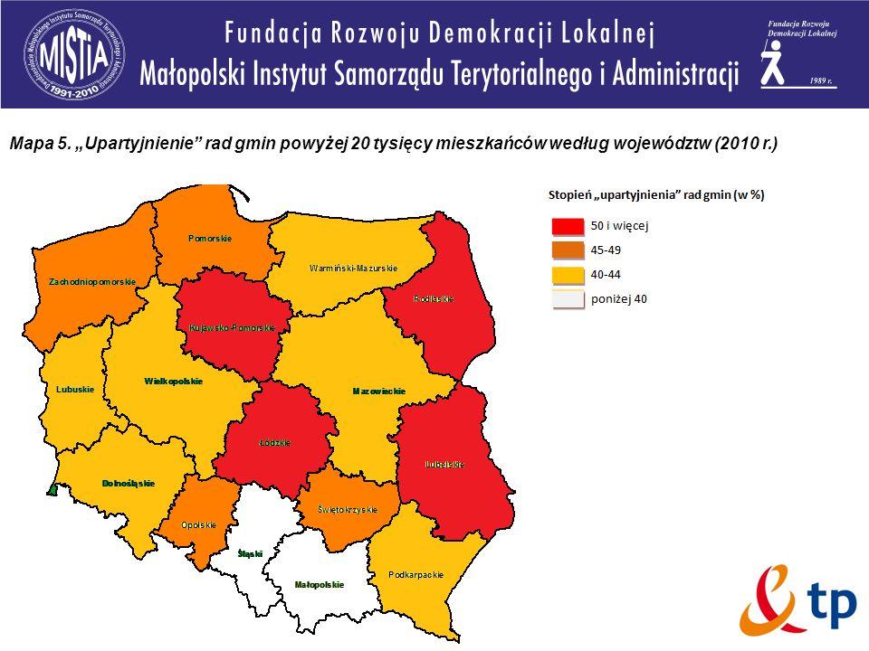 """Mapa 5. """"Upartyjnienie rad gmin powyżej 20 tysięcy mieszkańców według województw (2010 r.)"""