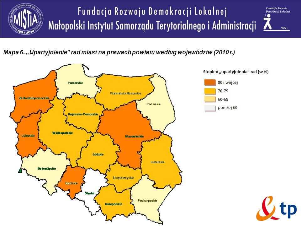 """Mapa 6. """"Upartyjnienie rad miast na prawach powiatu według województw (2010 r.)"""