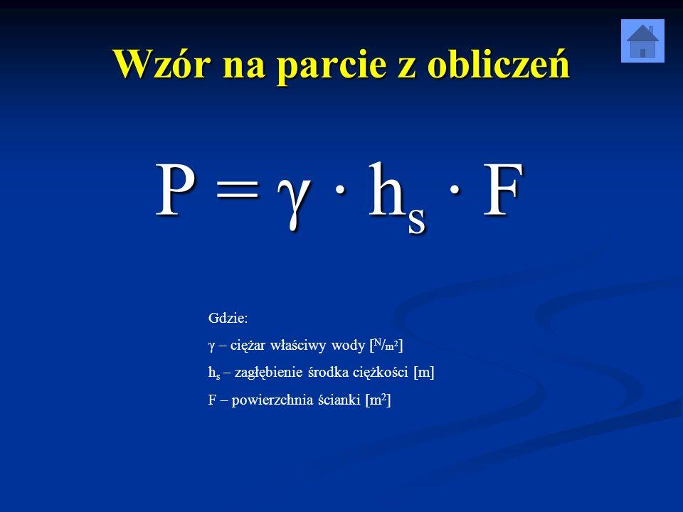 Wzór na parcie z obliczeń