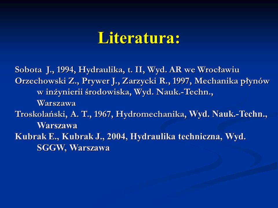 Literatura: Sobota J., 1994, Hydraulika, t. II, Wyd. AR we Wrocławiu