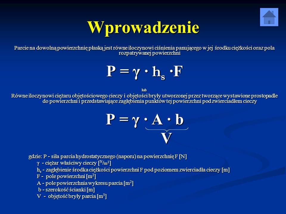 Wprowadzenie P = γ · hs ·F P = γ · A ∙ b V