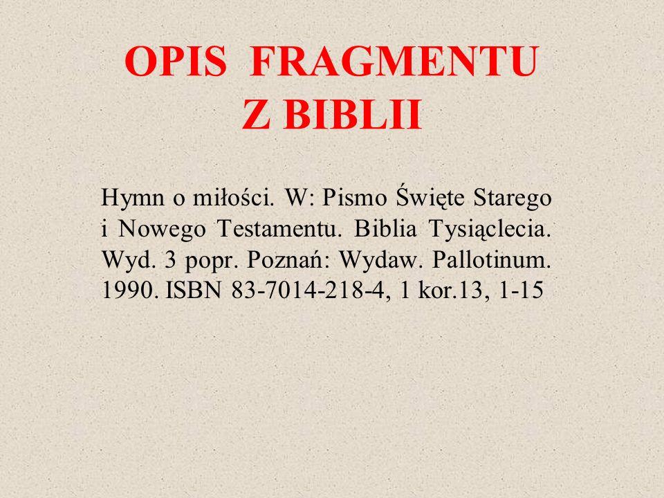 OPIS FRAGMENTU Z BIBLII