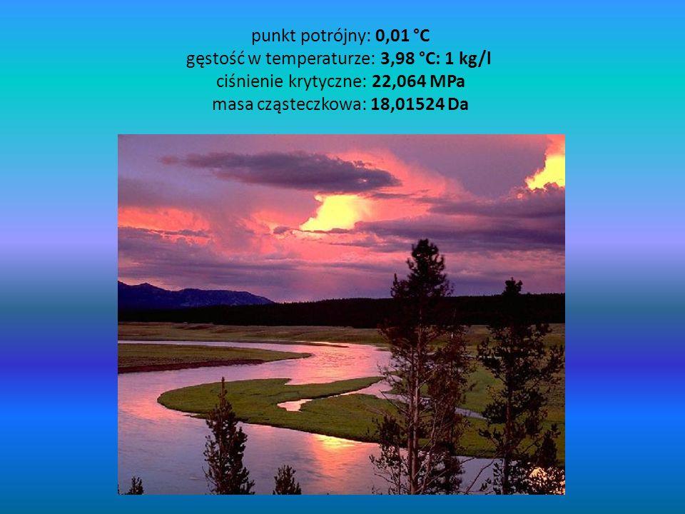 punkt potrójny: 0,01 °C gęstość w temperaturze: 3,98 °C: 1 kg/l ciśnienie krytyczne: 22,064 MPa masa cząsteczkowa: 18,01524 Da