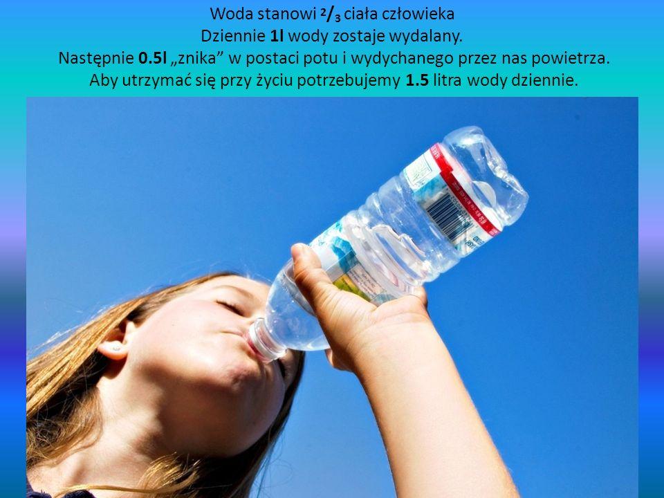 Woda stanowi 2/3 ciała człowieka Dziennie 1l wody zostaje wydalany