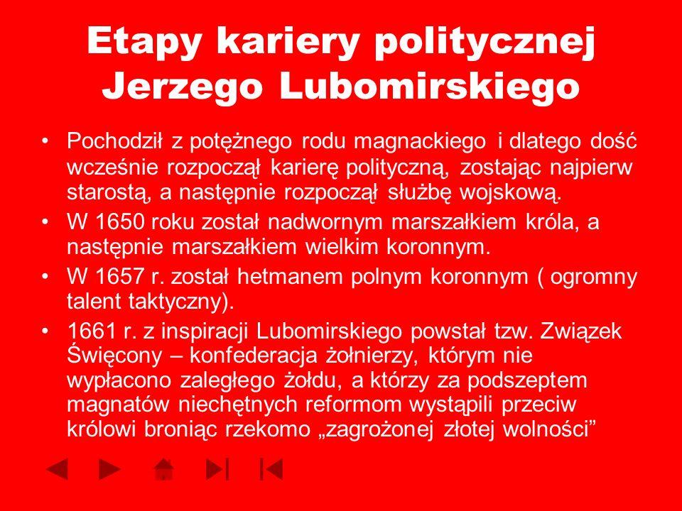 Etapy kariery politycznej Jerzego Lubomirskiego