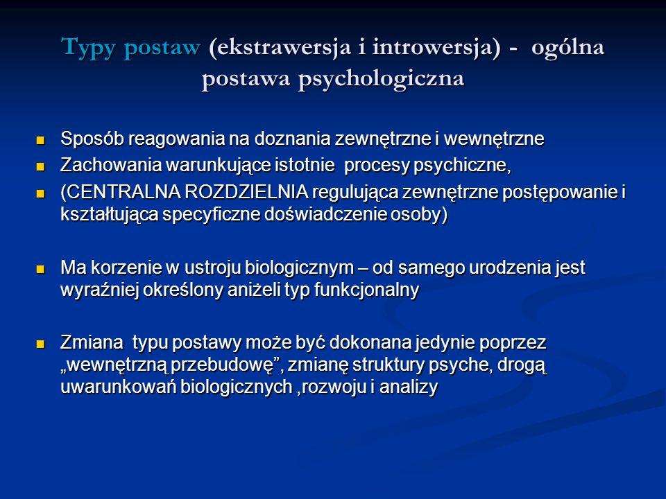 Typy postaw (ekstrawersja i introwersja) - ogólna postawa psychologiczna