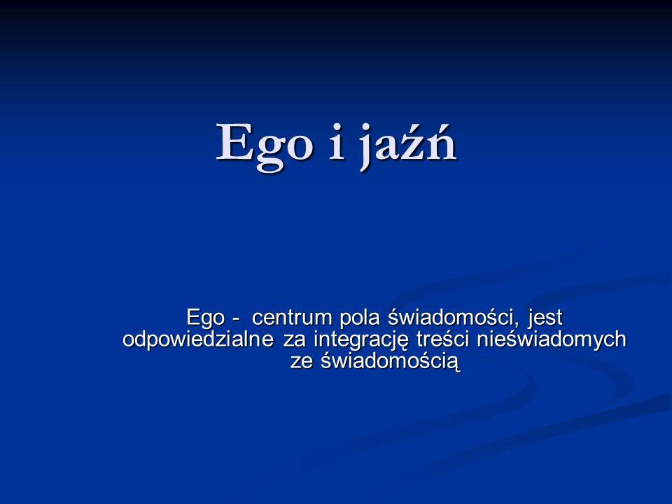Ego i jaźń Ego - centrum pola świadomości, jest odpowiedzialne za integrację treści nieświadomych ze świadomością.