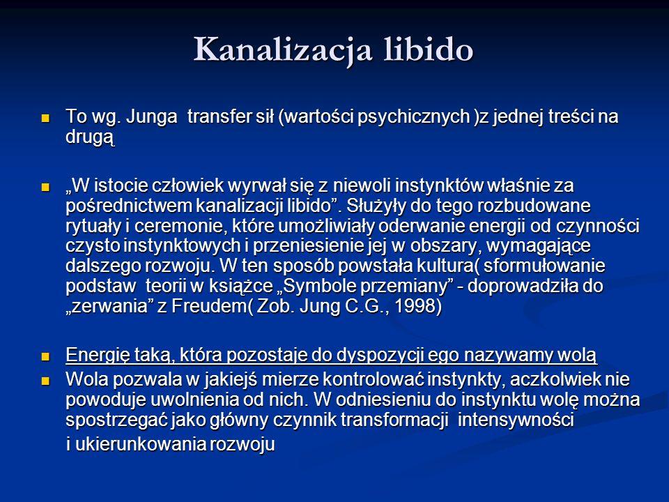 Kanalizacja libido To wg. Junga transfer sił (wartości psychicznych )z jednej treści na drugą.