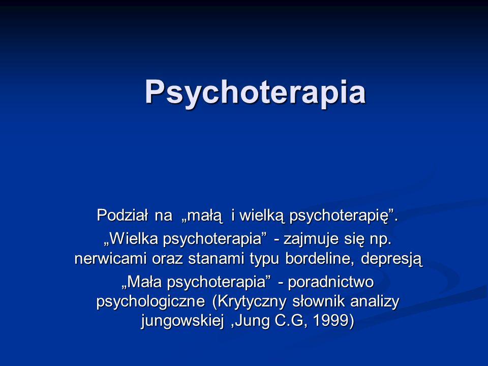 """Podział na """"małą i wielką psychoterapię ."""