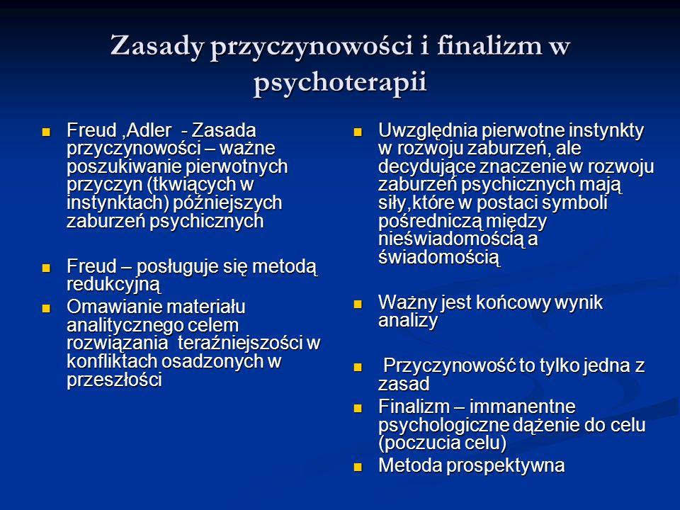 Zasady przyczynowości i finalizm w psychoterapii