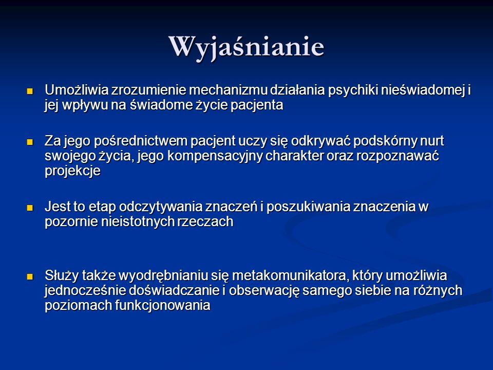Wyjaśnianie Umożliwia zrozumienie mechanizmu działania psychiki nieświadomej i jej wpływu na świadome życie pacjenta.