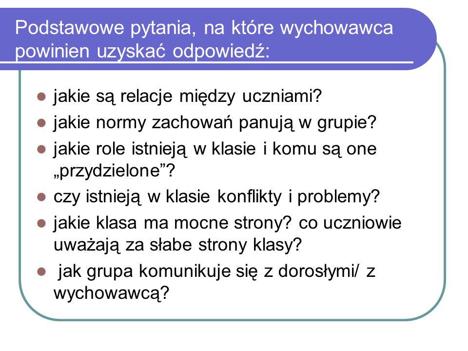 Podstawowe pytania, na które wychowawca powinien uzyskać odpowiedź: