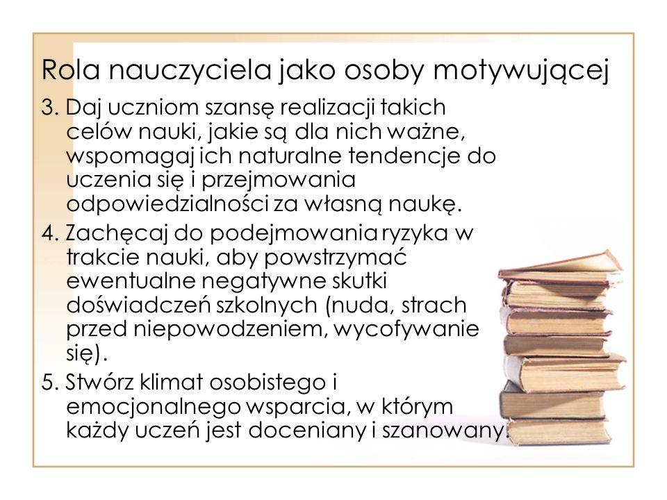 Rola nauczyciela jako osoby motywującej