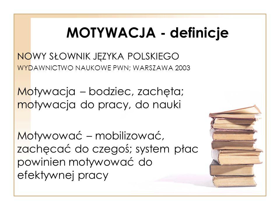 MOTYWACJA - definicje NOWY SŁOWNIK JĘZYKA POLSKIEGO. WYDAWNICTWO NAUKOWE PWN; WARSZAWA 2003.