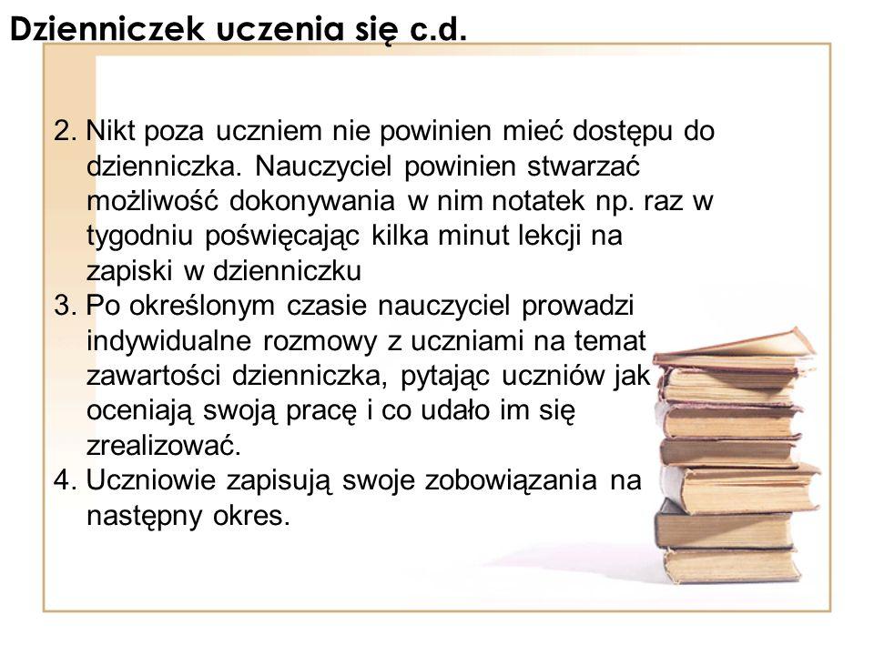 Dzienniczek uczenia się c.d.