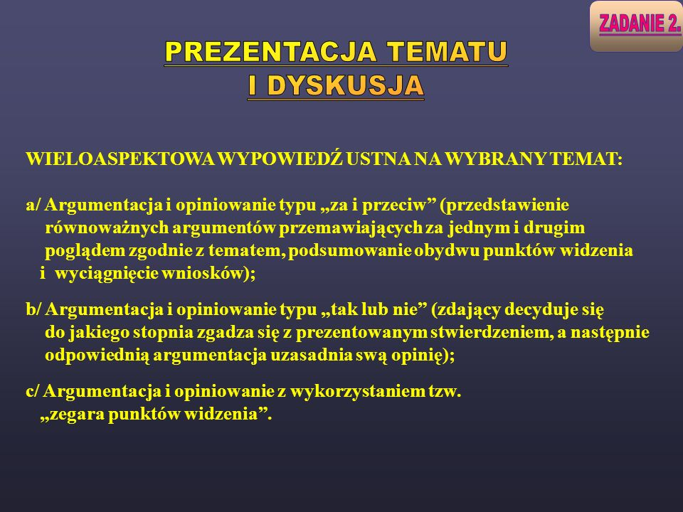 PREZENTACJA TEMATU I DYSKUSJA