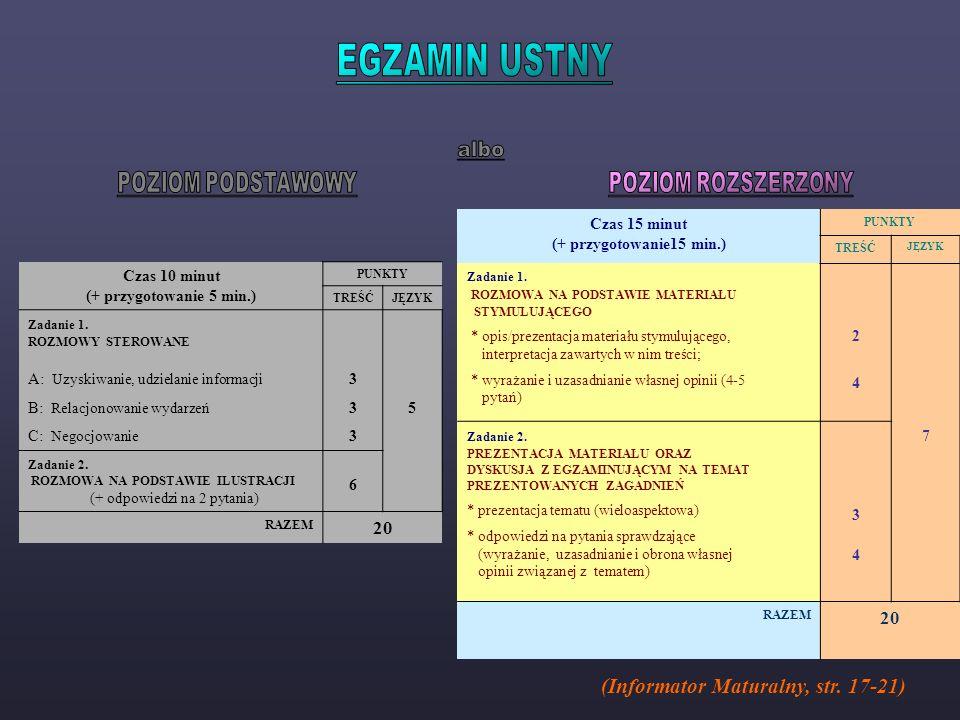 EGZAMIN USTNY albo (Informator Maturalny, str. 17-21)