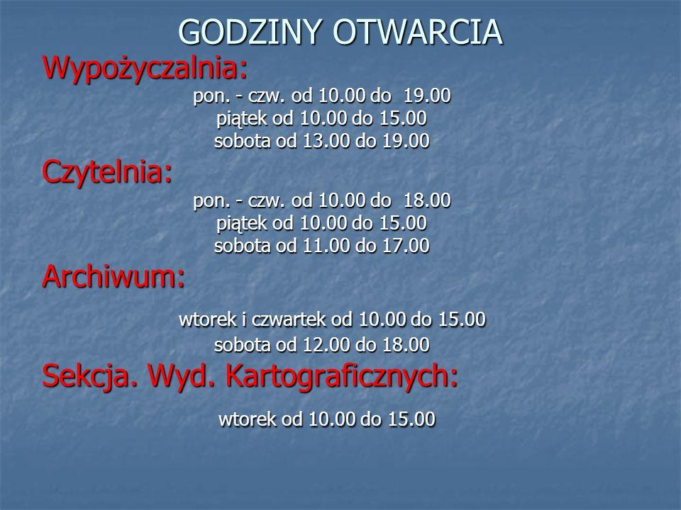 GODZINY OTWARCIA wtorek i czwartek od 10.00 do 15.00