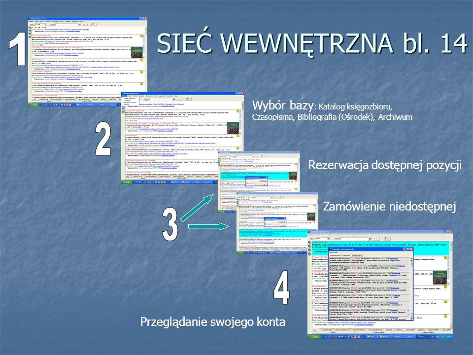 SIEĆ WEWNĘTRZNA bl. 14 1. Wybór bazy: Katalog księgozbioru, Czasopisma, Bibliografia (Ośrodek), Archiwum.