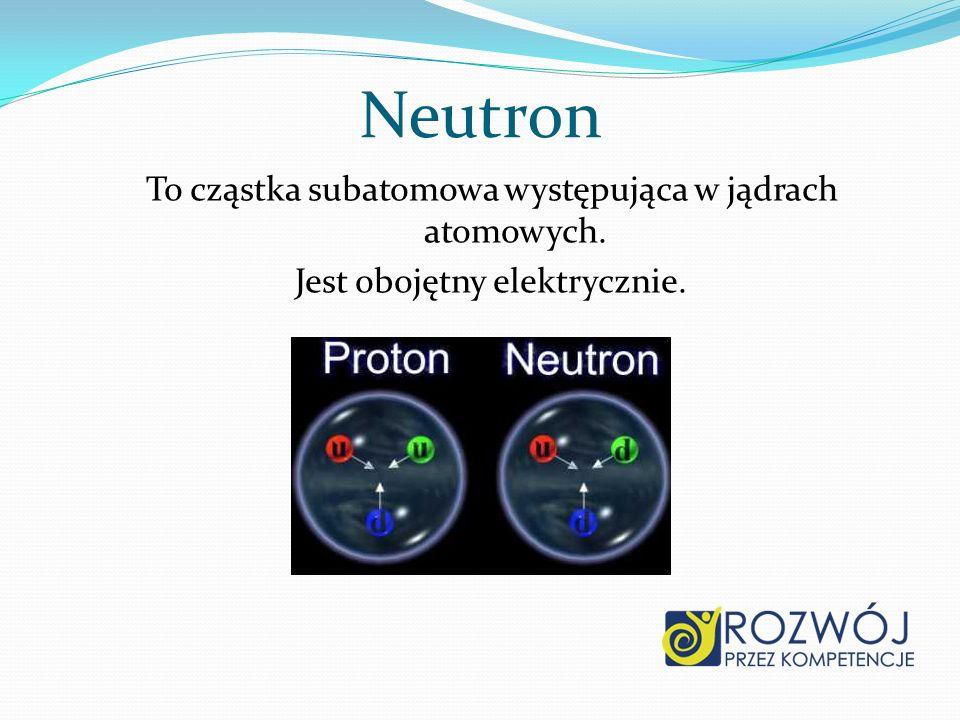 Neutron To cząstka subatomowa występująca w jądrach atomowych.