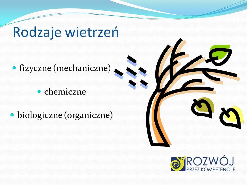 Rodzaje wietrzeń fizyczne (mechaniczne) chemiczne