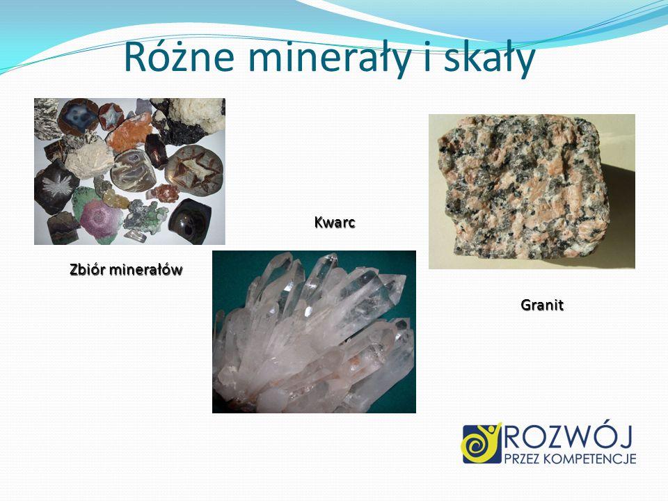 Różne minerały i skały Kwarc Zbiór minerałów Granit