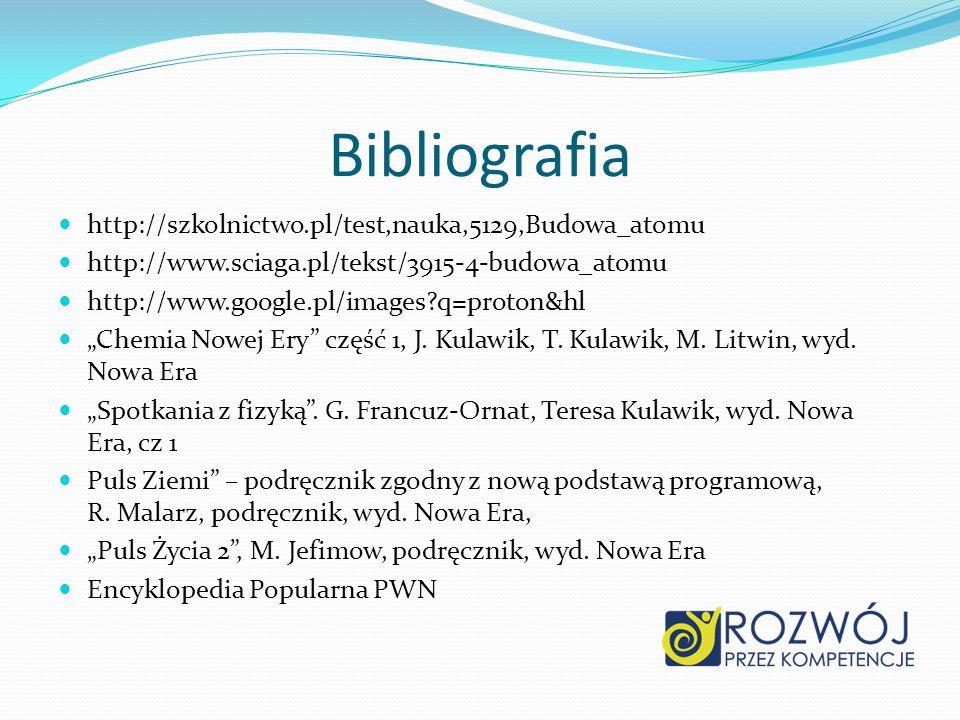 Bibliografia http://szkolnictwo.pl/test,nauka,5129,Budowa_atomu