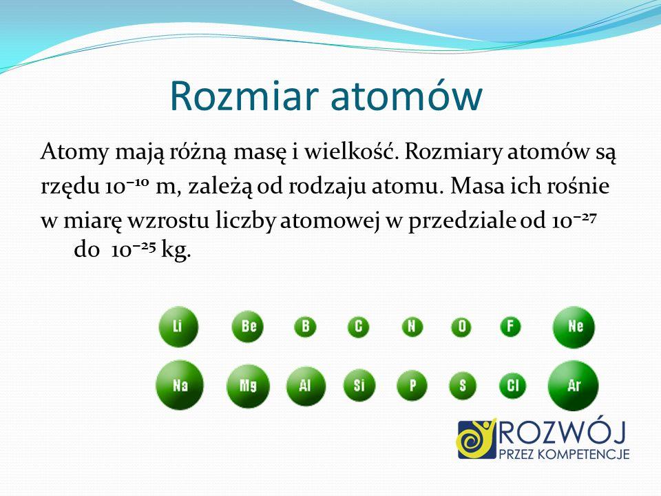 Rozmiar atomów Atomy mają różną masę i wielkość. Rozmiary atomów są