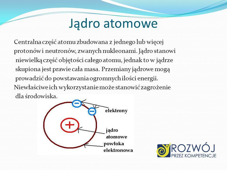 Jądro atomowe Centralna część atomu zbudowana z jednego lub więcej