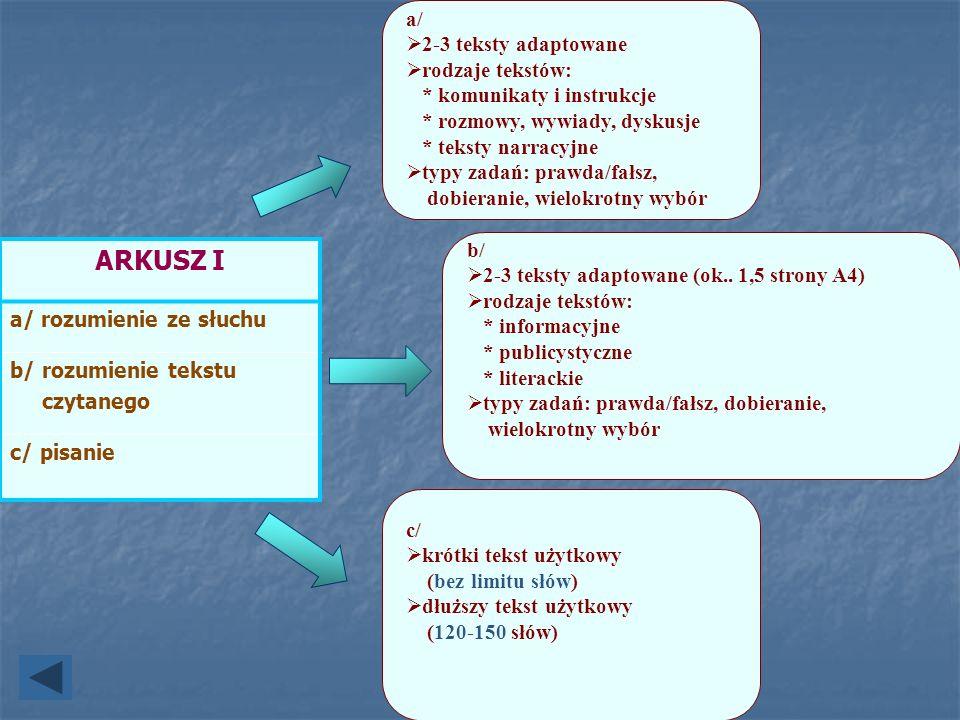 ARKUSZ I a/ 2-3 teksty adaptowane rodzaje tekstów: