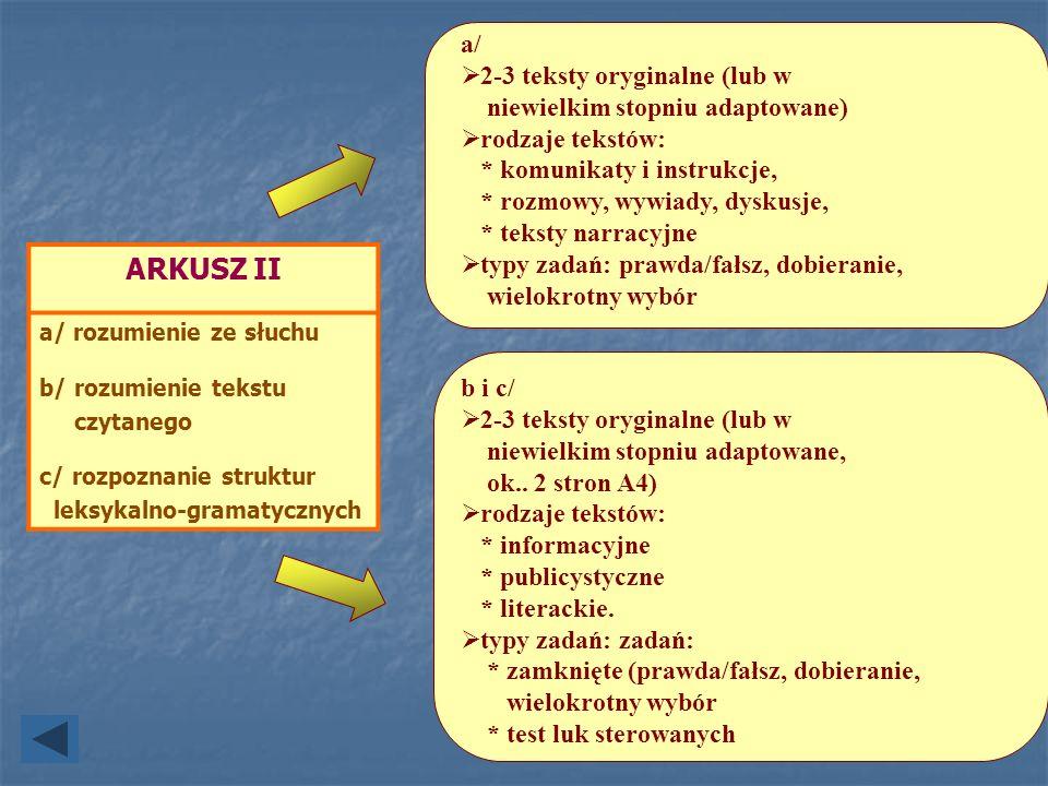 ARKUSZ II a/ 2-3 teksty oryginalne (lub w