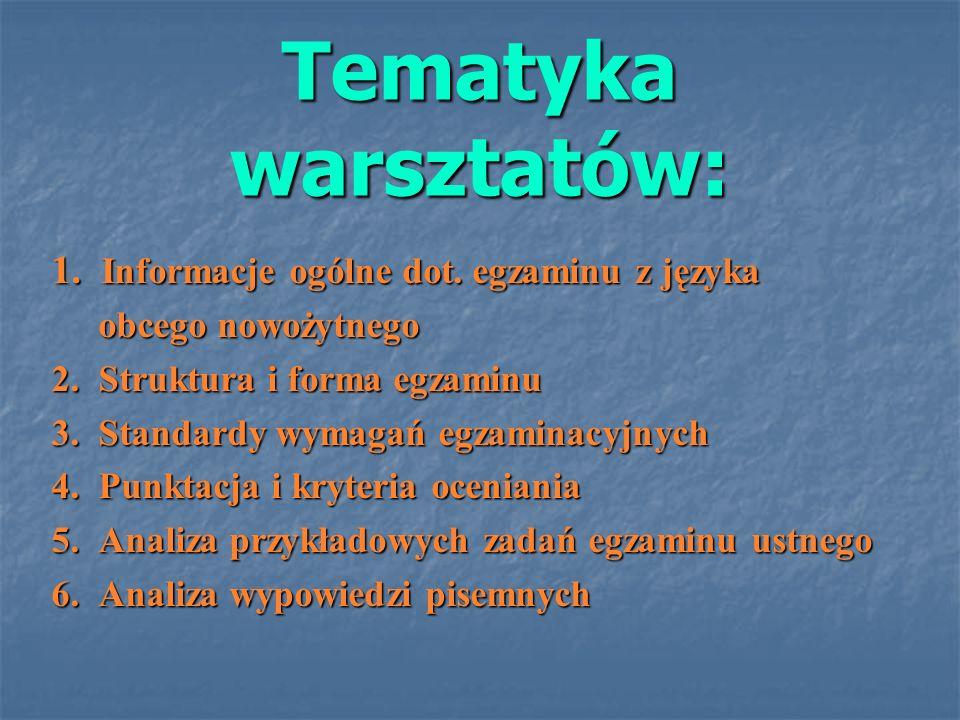 Tematyka warsztatów: 1. Informacje ogólne dot. egzaminu z języka